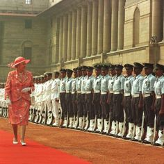 Queen Elizabeth II inspecting an Indian Forces' Honour guard at the Rashtrapati Bhavan (formerly the Viceroy's Palace and Secretariat) in the centre of New Delhi, India, in a visit that marked the 50th anniversary of the country's independence from Britain. 1998
