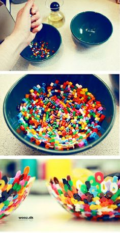 Evenly spread beads in bowl and bake at 400 degrees for 10 minutes. Keep your eye on the beads, they cook fast! Take them out when the beads are flat with large holes. When cool, rinse the oil off with tap water and soap.