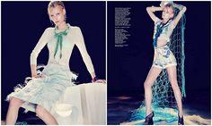 """""""Acqua Alta""""  Vestindo peças Marc Jacobs, Valentino, Versace, Givenchy entre outros, a linda e loira Irene é a estrela do editorial """"Acqua Alta"""" da Haper's Bazaar Singapura, maio 2012, fotografado por Gan."""
