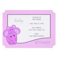 Baby Chibi Pet Elephant - Baby Shower Invitation