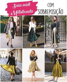 Como usar saia midi plissada metalizada com sobrepossição