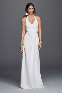 Simplistic elegance are the words that will come to mind as you try on this figure flattering casual wedding dress. This polished gown features a v-neck halter with crisscross detailing at the bodice. The lightweight fabric will have you floating gracefully down the aisle!  DB Studio, exclusively at David's Bridal.  Also available in Plus Size. Check your local stores for availability.  Sweep train. Fully lined. Back zipper. Imported. Dry Clean only.  Cherish your wedding dress forever with