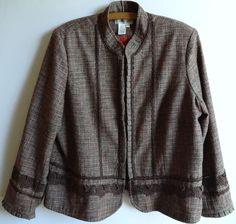 Fall Coldwater Creek Plus Size 2X Tweed Jacket Blazer Brown Lacey Trim Lined  #ColdwaterCreek #Blazer