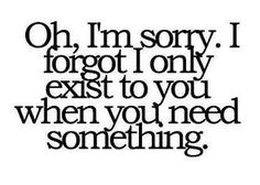"""Oh, i'm sorry. I forgot I only exist to you when you want to see my kid!"" hahha, my version!"