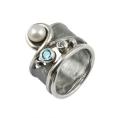 Jewelry.  Sterling silver and Pearl ring with blue and white cubic zirconia.  http://shrsl.com/?~39hq  $97.50