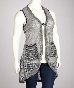 Take a look at this Gray & Black Lace Patchwork Vest - Plus by Lily on #zulily today!