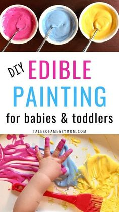 Edible painting – a fun, simple craft and activity for babies and toddlers. DIY … Edible painting – a fun, simple craft and activity for babies and toddlers. DIY edible painting is the perfect sensory play for babies and an entertaining toddler activity. Toddler Learning Activities, Infant Activities, Day Care Activities, Sensory Activities For Toddlers, 10 Month Old Baby Activities, Toddler Painting Activities, Baby Activites, Child Development Activities, Summer Activities