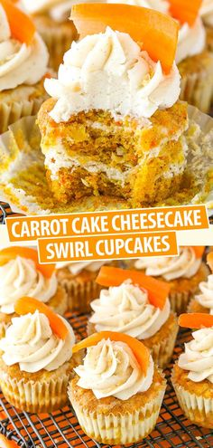These Cake Cheesecake Swirl Cupcakes are made with moist carrot cake and cinnamon cheesecake layered together in one tasty cupcake! They are topped with cinnamon cream cheese frosting for a fun and delicious treat! Cheesecake Cupcakes, Cinnamon Cheesecake, Carrot Cake Cheesecake, Cupcakes Cool, Swirl Cupcakes, Cupcake Cakes, Carrot Cake Cupcakes, Easter Cupcakes, Dessert Simple