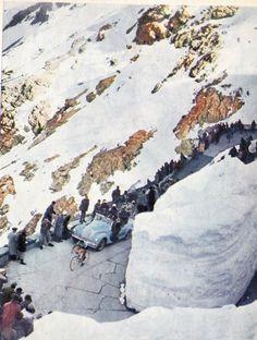 Coppi climbing through the snow