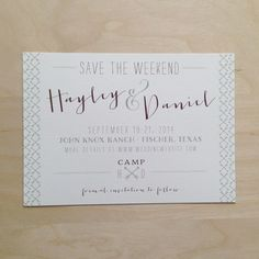 Custom save-the-date: Postcard, camp/rustic theme.