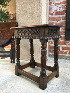 Antique English Carved Oak Jacobean Foot Stool Bench Pegged Joint Tall #Jacobean