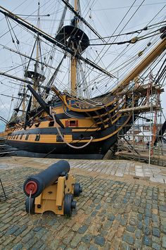 HMS Victory, Portsmouth, England- the famous flagship that Admiral Lord Nelson commanded at the Battle of Trafalger the pinnacle of history for tall ships. Portsmouth England, Portsmouth Dockyard, Old Sailing Ships, Hms Victory, Wooden Ship, Submarines, Tall Ships, Royal Navy, Water Crafts