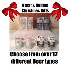 Beer Bottle Drinking Glasses Sold in Pairs Choose by UReflections, $10.00 #mangifts #Christmas