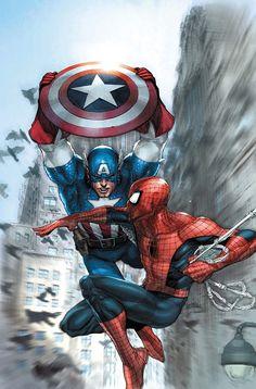 Leinil Francis Yu - Captain America vs Spider-man
