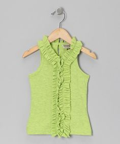 Another great find on #zulily! Lime Pop Ruffle Sleeveless Tank - Toddler & Girls #zulilyfinds