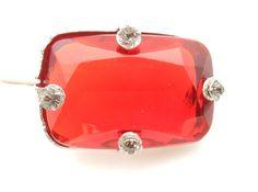 Rhinestone Jewelry Rhinestone Brooch, Downton Abbey, Victorian Jewelry, Red Glass Brooch, Ruby Red, Antique Brooch, Something Old
