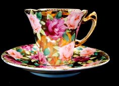 Nippon Cup & Saucer Hand Painted Roses Over Gold