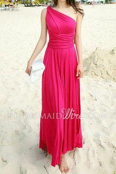 elegant bright pink one shoulder long chiffon bridesmaid dress