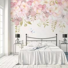 wallpaper bedroom Watercolor Pink Flowers Wallpaper Wall Mural, Hanging Branch Floral Wall Murals Wallpaper, Wallpaper for Bedroom Living Room Home Decor Wallpaper Wall, Flower Wallpaper, Bedroom Wallpaper, Pink Wallpaper For Walls, Wallpaper Designs, Modern Wallpaper, Wallpaper Quotes, Romantic Bedroom Decor, Bedroom Modern