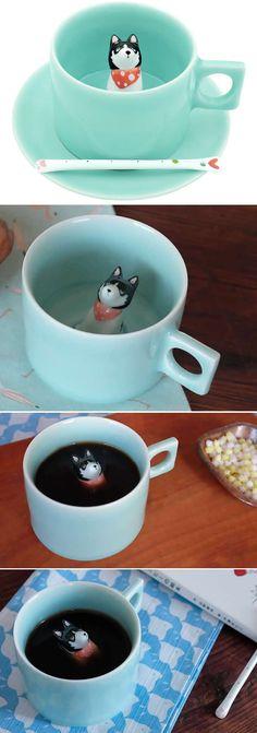 Dog Figurine Ceramic Coffee Cup (Siberian Husky)