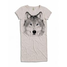 Womens Boho Wolf Head Face Animal Tee Dress Tribal Triblend Short... ($24) ❤ liked on Polyvore