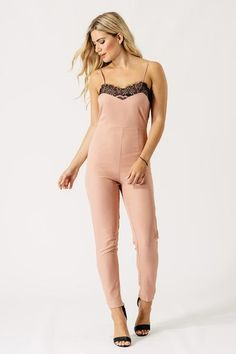 Strappy lace trim jumpsuit Cami style top with skinny trousers Concealed zip fasten at the back This item is not available for next day delivery Playsuits, Jumpsuits, Pink Lace, Lace Trim, Cami, Girl Fashion, Trousers, Delivery, Skinny