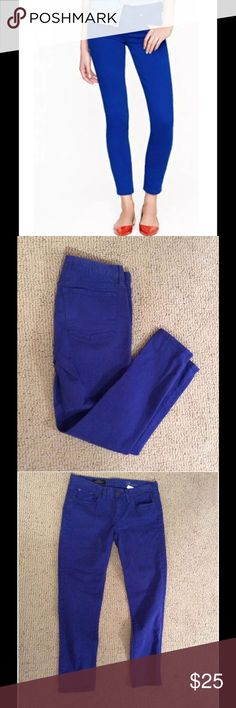 J. Crew Skinny Toothpick Ankle Jean Dyed Twill 28 Across Waist: 16in  Inseam: 27in  Outerseam: 35in Our designers took a bright idea and ran with it. The talk-of-the-town toothpick gets a jolt of color thanks to a careful garment dye that creates a pitch-perfect hue. Sits lower on hips. Slim through hip and thigh, with a skinny, cropped leg. Cotton/viscose with a hint of stretch. Traditional 5-pocket styling. Machine wash. Import. The nature of this product may result in color transfer—we…