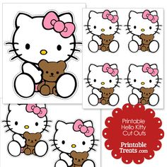 Free Cut Outs of Hello Kitty and Teddy Bear from PrintableTreats.com