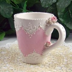 Shabby Chic - Pink and White Tea Cup with Lace Pattern & small Pink Rose Coffee Cups, Tea Cups, Drink Coffee, Vintage Tee, Rose Bonbon, Pink Cups, Pink Images, Teapots And Cups, My Cup Of Tea