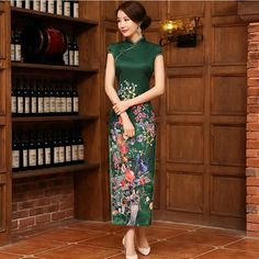 New Long Cheongsam Dress Modern Qipao Dress Green Chinese Silk DressChinese Traditional Dress Vvestido Oriental Qi Pao