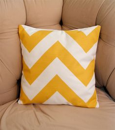 Wide Yellow Chevron Pillow Cover. $15.00, via Etsy.