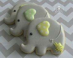 One Dozen (12) Baby Elephant Decorated Sugar Cookies