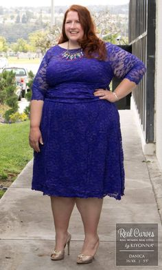 "Real Curve Cutie Danica (5'5"" and a size 3x/4x) looks lovely in lace in our plus…"