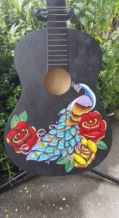 This Coull Chick: New Peacock Guitar. Guitar Painting, Art Work, Peacock, Miniatures, Posts, Bird, Creative, Outdoor Decor, Home Decor