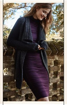 Love the color of the dress and the shirred look of the fabric! ~ Anthropologie ~ Fall/2015