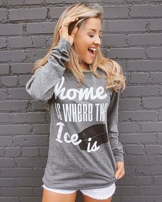 """Who's ready for a little hockey? We are! We are! Our super comfortable """"Home Is Where the Ice Is"""" long-sleeve tee is here in S-XXL! Shop here: https://www.livelovegameday.com/hockey/"""