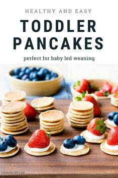 toddler pancakes that are healthy this easy recipe is perfect for babies and toddlers the small size makes these pancakes great for baby led weaning freezer friendly too recipe on www theworktop c - The world's most private search engine Kids Cooking Recipes, Baby Food Recipes, Gourmet Recipes, Easy Cooking, Cooking Games, Cooking Steak, Cooking Oil, Easy Recipes, Cooking With Toddlers