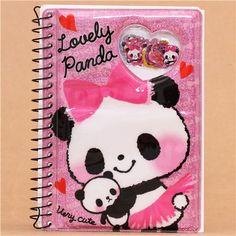 pink panda bear heart glitter sticker album