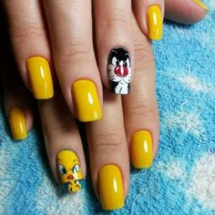 Sylvester and Tweety nails!