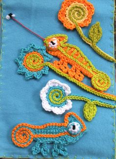 Instant Download Crochet PATTERNS CHAMELEON door susanlinnstudio