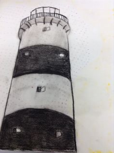 Lighthouse.  Charcoal. Different Media, Create Image, Lighthouse, Charcoal, Art, Bell Rock Lighthouse, Craft Art, Light House, Lighthouses