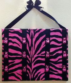Pink Zebra Cheer Bow Holder by EsbeeEtsy on Etsy, $22.00