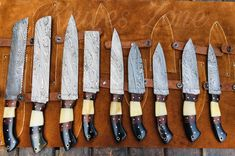 Custom made Damascus steel Kitchen Set, Handle made of Green and Cognac Colored Woods With Beautiful Mosaic Pin and Brass Spacer, sizes From top to bottom Smart Cleaver Full Length Blade Handle Full Length Blade Handle Full Length Damascus Steel Kitchen Knives, Damascus Chef Knives, Leather Kits, Leather Roll, Leather Craft, Handmade Chef Knife, Handmade Knives, Types Of Knives, Knives And Swords