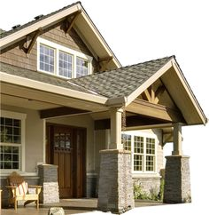 portico minus the Californian bungalow look Exterior Paint Colors For House, Paint Colors For Home, Style At Home, Split Entry Remodel, Brick Ranch, Porch Makeover, Arts And Crafts House, Craftsman Bungalows, House Painting