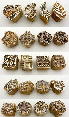 Diy with rubber gums .Hand Carved Wooden Block Printed Indian Stamps - Wood Printing Stamping Supplies in Crafts, Rubber Stamping, StampsBeautiful carving works in Traditional Peacock pattern. Hand carved wooden Block for printing on fabric / Textile Clay Stamps, Stamp Carving, Wood Carving, Stamp Printing, Printing On Fabric, Hand Block Printing, Handmade Stamps, Wooden Blocks, Fabric Painting