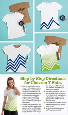 Chevron spray painted tshirt from Hobby Lobby.Simply Spray fabric paint I have a bunch of t shirts Fabric Crafts, Sewing Crafts, Sewing Projects, Diy Vetement, Diy Mode, Techniques Couture, Diy Clothing, Clothes Refashion, Clothing Stores
