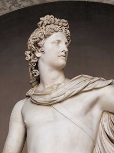 Apollo Belvedere. Marble. believed to be a Roman copy carved in the 2nd century A.D. One of the most celebrated sculptures of classical antiquity.