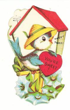 Vintage Valentine Card Blue Bird Birdhouse UNUSED Die-Cut for Child Envelope