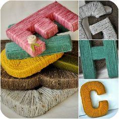 letters wrapped in yarn - mmmmm, cozy!