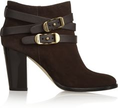 d74352f43a1 Jimmy Choo Melba Buckled Suede Ankle Boots Brown High Heel Boots
